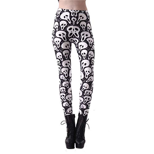 Damen Leggings Totenkopf Gedruckt Yoga Sport Fitness Mädchen Joggingshose High Waist Slim Fit Trousers Leggins (Color : Style-042, Size : M)