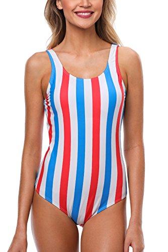 CharmLeaks Damen Einteiler Streifen Badeanzug Gestreift Schalen Slim Schwimmanzug Chic Rot & Weiß & Blau XXL