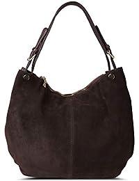 c14ece36e79a4 Nico Louise Damen Echtes Leder Wildleder Handtasche Schulter Tasche Casual  Hobo Bag