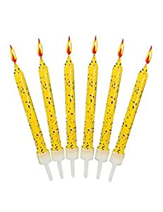 12 Yellow Glitter Cake Candles with Holders