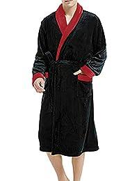 Hombres de Lujo de Invierno Albornoz para Hombre Cálido Largo Kimono Abrigo de baño Traje Masculino