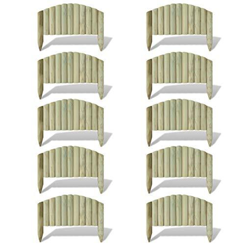 vidaXL 10x Holz Rasenkante 55cm Palisade Beeteinfassung Beetbegrenzung Zaun