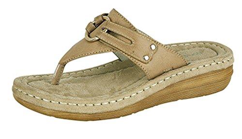 Damen Zehentrenner Maultier Komfort gepolstert Sandalen Size 3 - 8 Beige