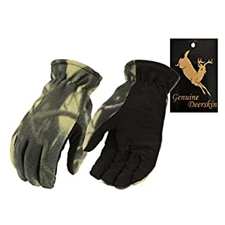 North American Trading-Men's Camo Deer Suede Palm and Fleece Thermal Lined Gloves-BLK/CAMO-LARGE -  Multicoloured -