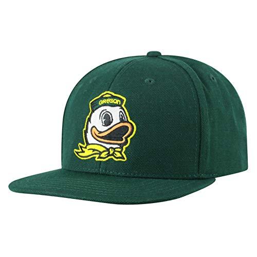 Top of the World NCAA Oregon Ducks Men's Flat Brim Snap Back Team Icon Hat, Dark Green