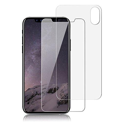 VAPIAO [Panzerglasfolie Rückseite Hinten und Vorne [Front and Back] kompatibel mit iPhone X, Xs Panzerglas 9H 3D Curve Glasprotektor Glasfolie Clear Glas Schutzfolie Echtglas -