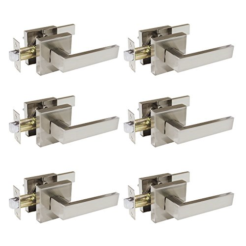 Tür Knöpfe Hebel Tür Passage Keyless Lock Flanschbefestigung ohne Schlüssel, Türgriffe Satin Nickel für Hall Closet Passage Door Lever-DL01 6er-Pack ()