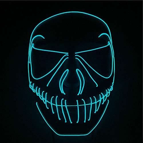 Queta Party Maske, LED Light EL Wire Cosply Maske für Halloween Christmas Party Festival Kostüm Mask Purge Horror Mask by (Blau ()