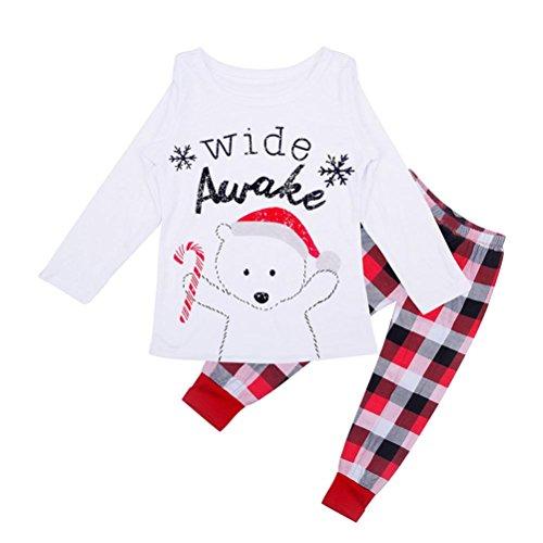 Familie Pyjama Set, DoraMe Eltern Kinder Baby Weihnachten Plaid Nachthemden Xmas Print Bluse + Gitter Hose (Kind, 4 Jahr) (Weißen Plaid Hose)