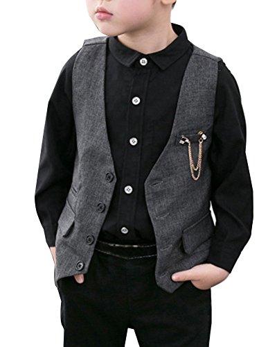 LaoZanA Jungen Weste Anzugweste Kinder Anzug Weste Festlich Festlich Anzug-Weste Grau