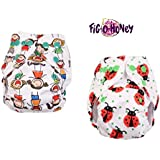 Fig-O-Honey Reusable New Born Baby Cloth Diapers   Multi-Color Baby Fabric Nappy With Free Absorbent Inserts   Washable And Elastic Printed Modern Cloth Nappies With Insert Liners   ( All Smiles & Ladybug Print Combo )