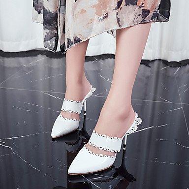 Lvyuan-ggx Femmes Talons Avec Sangle Tpu Printemps Eté Formelle Footing Avec Sangle Stiletto Dentelle Blanc Noir Tissu Amande 7.5 - 9.5 Cm Amande
