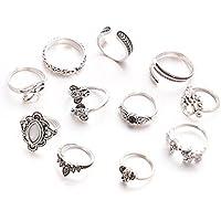 gespout 11pz femenino de anillo anillo de acero inoxidable Estilo Vintage Juego de anillas elefante hoja de árbol accesorios decorativos de moda fingerring Juego para las niñas de las mujeres , Plata