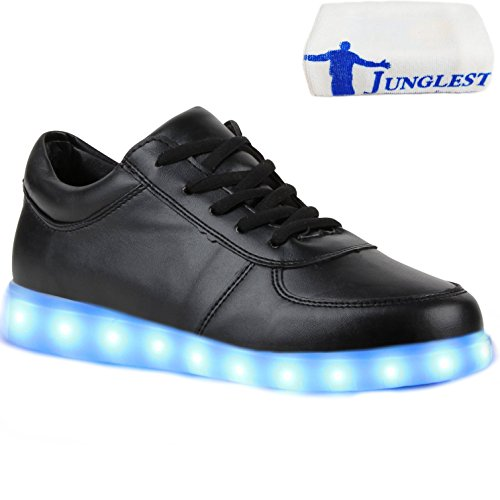 (Present:kleines Handtuch)JUNGLEST® Blinkende Damen Sneakers Led Light Fa Schwarz