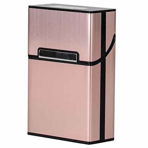 Zigarettenetuis,Tragbare Aluminium 20 Zigaretten Kasten Taschen Behälter Speicher Halter (Rose Gold) -