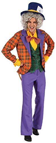 Kostüm Im Wunderland Alice Dark - Herren 4 Stück Verrückter Hutmacher + Hut Alice im Wunderland Büchertag Woche Bunt Halloween Kostüm Kleid Outfit
