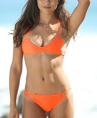 HHBO Frauen-Multi-Seil-Bügel-Bikini Dekoriert Strand Badeanzug Beige