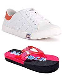Blinder Combo Men's White Sneakers With Red Slipper Combo Free Free