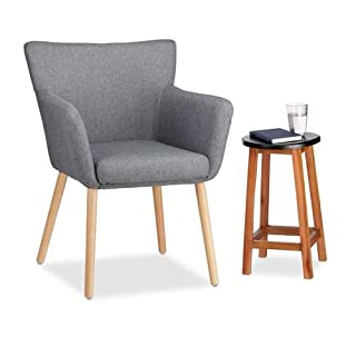 Relaxdays Polstersessel Design, Stoffbezug, weich gepolstert, bequem, gemütlich, Sessel, HxBxT: 84 x 62 x 56 cm, grau