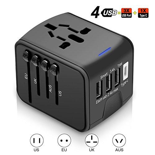 Agedate Universal Reise-Adapter, World Reisestecker Adapter mit 3 USB Ports und Type C International Ladegerät Sicherheit AC Steckdose für Reisen in über 220 Länder(Schwarz)