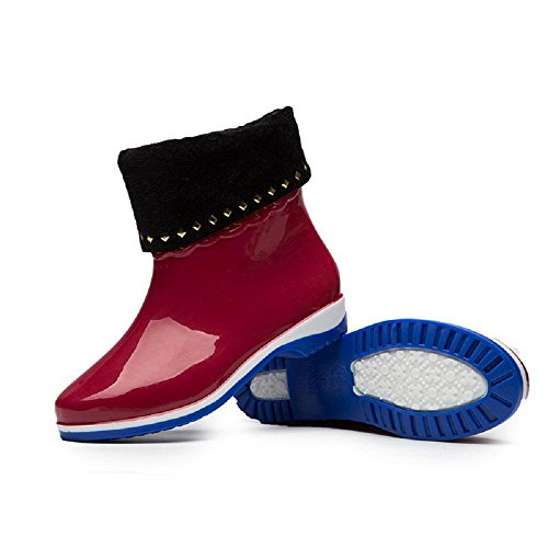 PVC Damen Regen Stiefel Europa und Amerika Mode Anti-Rutsch Warm Winter Regen Schuhe Red