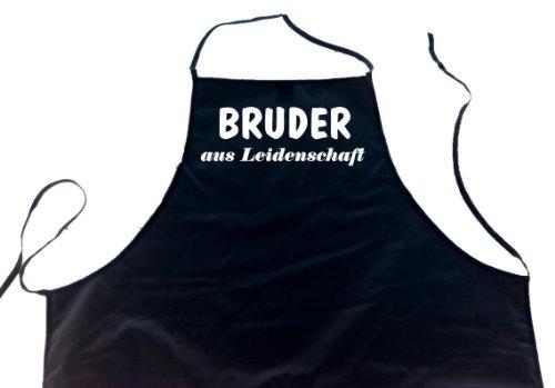 Bruder aus Leidenschaft; Koch Schürze (Latzschürze - Grillen, Kochen, Berufsbekleidung, Familie), schwarz