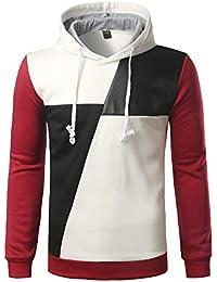 BUSIM Men's Long Sleeve Sweater Hoodie Stitching Color Jacket Sweatshirt Pullover Jacket Jacket Sports Top Shirt...
