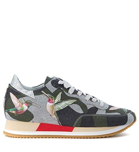 Sneaker Philippe Model Paradis in tessuto verde stampa colibrì Verde