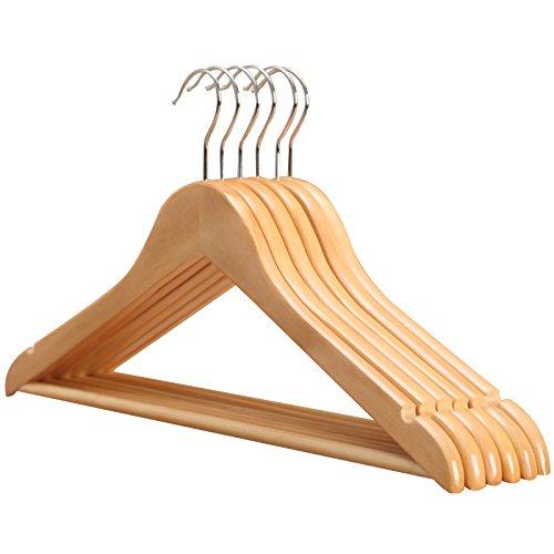 Kingsley Finish (Holz Kleiderbügel Kingsley Housewares Solider Lotus Holz Suit Kleiderbügel natürliches Finish mit Korrosionsschutz Haken und Holz Bar mit rutschfesten Hosen-Tube-10Stück)