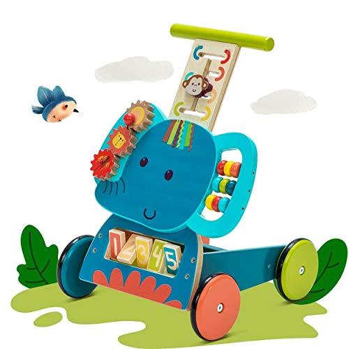 Labebe Andador, Uso 3 en 1 como Carruaje, Zorro Azul Andador Con Bloques de 1-3 Años, Sin Caminar Andador/Andador Madera/Andador de Madera/Andador de Madera/Andando Bebé Andador...