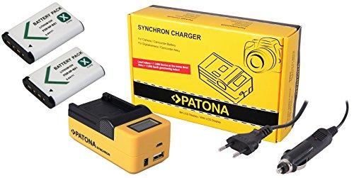 3in1-SET LCD Schnell Ladegerät (mehr Leistung / mehr Flexibilität) für den Sony HDR-PJ410 Full HD Camcorder + 2 Akkus für Sony NP-BX1 (1000mAh) --- 4in1 Ladeset (u.a. mit USB / micro-USB und Kfz/Auto) inkl. PATONA Displaypad