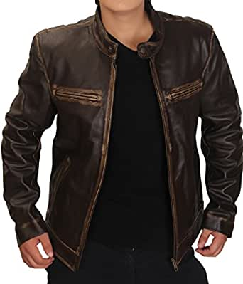 """Mens Contraband Mark Wahlberg's Distressed Brown Real Cow Hide Leather Jacket (2XL - Suitable For Chest Size 44"""")"""