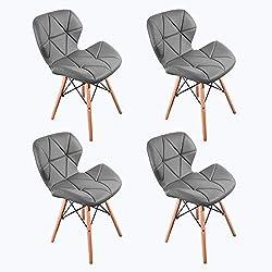 WV LeisureMaster 4PCS Cecilia Eiffel Millmead inspiré Chaise PU rétro à Manger Chaise Chaise de Bureau Lounge, Papillon Type Dossier Chaise à Manger (Gris)