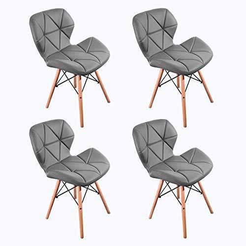 Naturelifestore 4er Set Cecilia Eiffel Millmead inspiriert Stuhl PU Retro Esszimmerstuhl Bürostuhl Lounge, Schmetterling Typ Rückenlehne Esszimmerstuhl, Grau