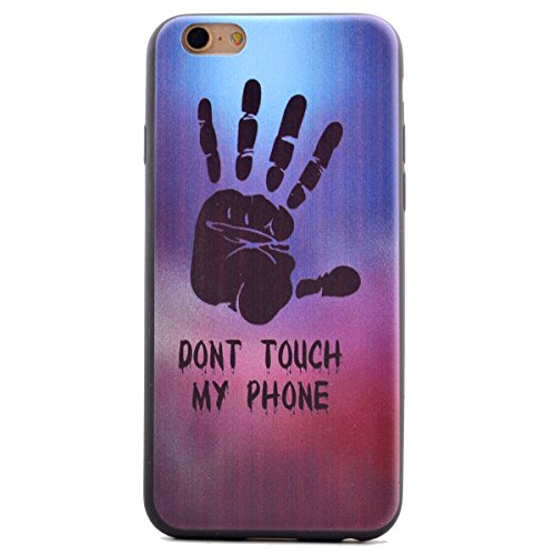 SainCat Coque Housse pour Apple iPhone 6s,Transparent Coque Silicone Etui Housse,iPhone 6 Silicone Case Soft Gel Cover Anti-Scratch Transparent Case TPU Cover,Fonction Support Protection Complète Magn Paume-Don't touch My Phone