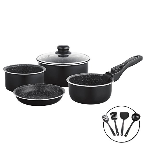 Exclusive Space-Saving Kit of in Black Lava Stone Saucepans with Removable Handle and Kitchen Utensils–Removable Battery Pack of 10Set of Cookware Saucepans Frying Pan Pot Saucepan with Detachable Handle Removable Lid Volcanic Anti-scratch Granite Non-