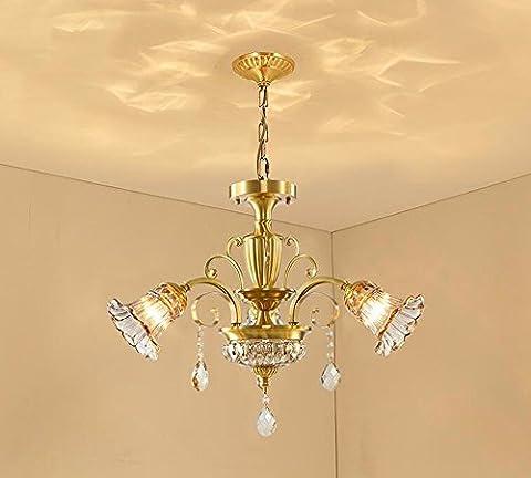 GZLitht Lampes Suspendues Pendentif Tous les rétro cuivre Crystal Le Salon lampes en bronze Le Restaurant Chambres de luxe,71*45cm