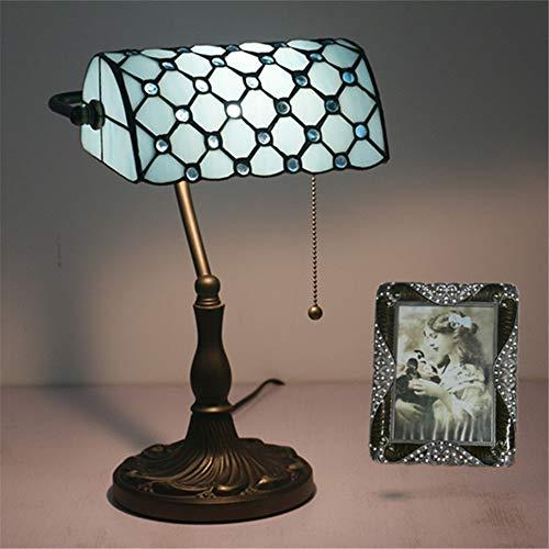RENYAYA Bankers Tischlampe Antique Lighting Handmade Tiffany Schreibtisch Light Side Einzigartige Home Office Glasmalerei Schatten,Blue -