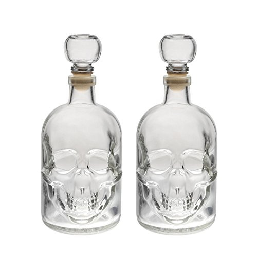 slkfactory 2 Bouteilles en Verre vides 500ml en Forme de Crâne, fabriqué en Allemagne, idéal pour Liqueur, Whisky, schnaps