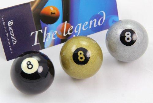 Aramith Exklusive 5,1cm Premier schwarz, silber & golden 8Ball Single Pool Cue Ball - Schwarz Premier Single