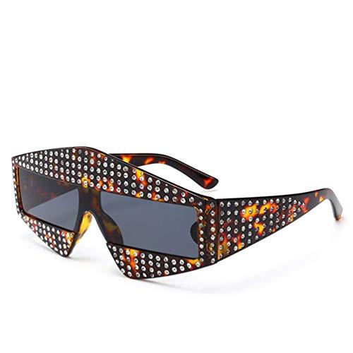 WYJW Für Damen \u0026 Mädchen T-Station - Übergroße Mode Damen Diamond Big Frame Crystal Sonnenbrille UV400 Schutz