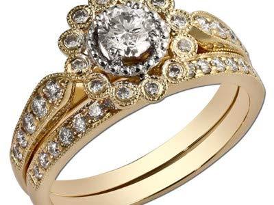 Addamas - fede nuziale da donna in oro rosa 14 k 18 k con diamanti veri, taglio rotondo da 1,20 carati e 18ct rosa oro, 47 (15.0), cod. p-lrn-1049-rg-18k-h