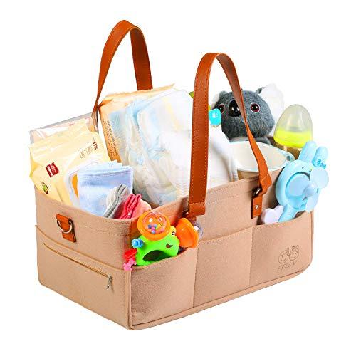 Afufu Baby Organizer, aufbewahrung wickeltisch, mit 2 Kinderwagenhaken für Auto Reise, Filz Baby Windel Caddy Organizer Korb tragbar Storage Bin groß Tasche mit herausnehmbaren Trennwänden
