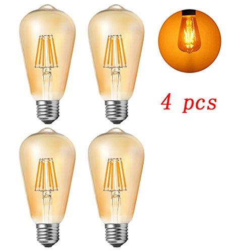 Lampadina LED Vintage E27, Edison E27 Vintage 6W ST64 Stile Retro, Lampadina ad Incandescenza 60W Equivalente, 540lm, Luce Bianca Calda 2300K, Lot di 4 di RANBOO