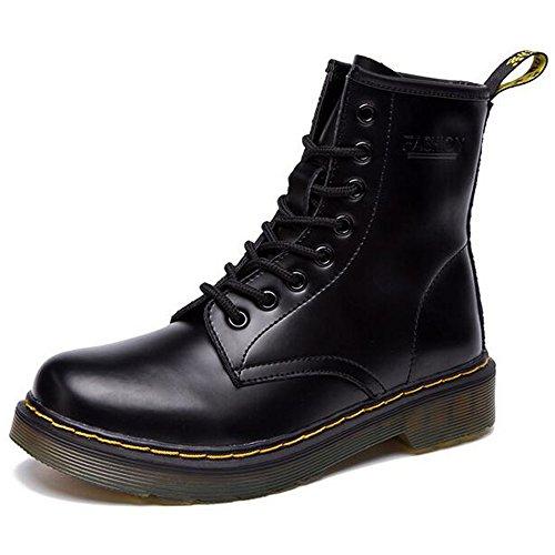 SITAILE Uomo Donna Inverno Pelliccia Neve Stivali Snow Boots caldo Stivali Cavaliere Martin Stivaletti Stringati,Nero,37
