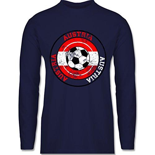 Shirtracer Fußball - Austria Kreis & Fußball Vintage - Herren Langarmshirt Navy Blau