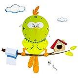 """VENKON - Kreative Wanduhr """"Vogel Zwitschie"""" als Quarzuhr mit Wandtattoo für Kinderzimmer - Farbe: Grüntöne"""