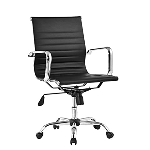 LANGRIA Comfortable Medium Back Ribbed PU Leather Executive Chair Home Office Use, Ergonomic Design, Fully Adjustable Height, Synchro Tilt Mechanism, 360 Degree Swivel, Max Weight Capacity 130kg, Black Back