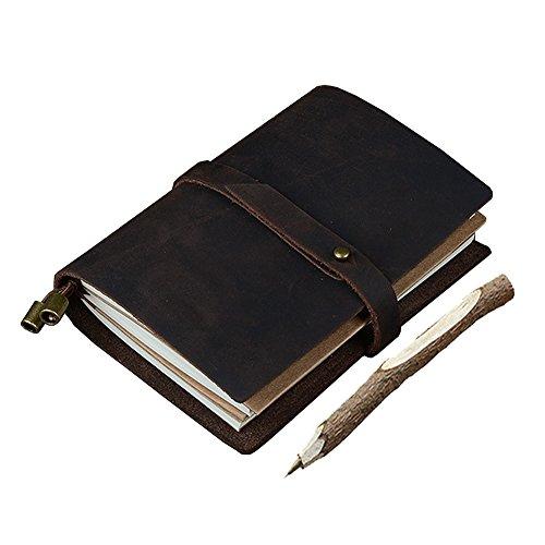 GossipBoy - Taccuino vintage, fatto a mano, in pelle, diario di viaggio, DIY, blocco note con 3ricariche di pagine