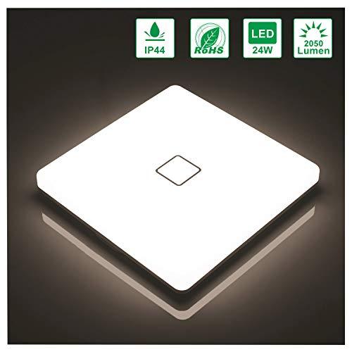 Öuesen Lámpara de techo LED 24W IP44 2050lm Plafón LED Moderno Blanco natural 4000K para Pasillo Salón Cocina Dormitorio Baños